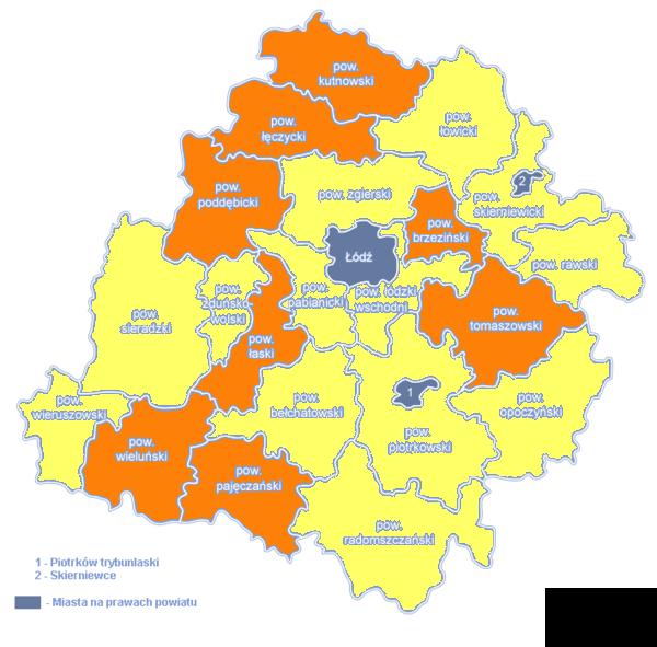 Województwo Łódzkie mapa powiatów